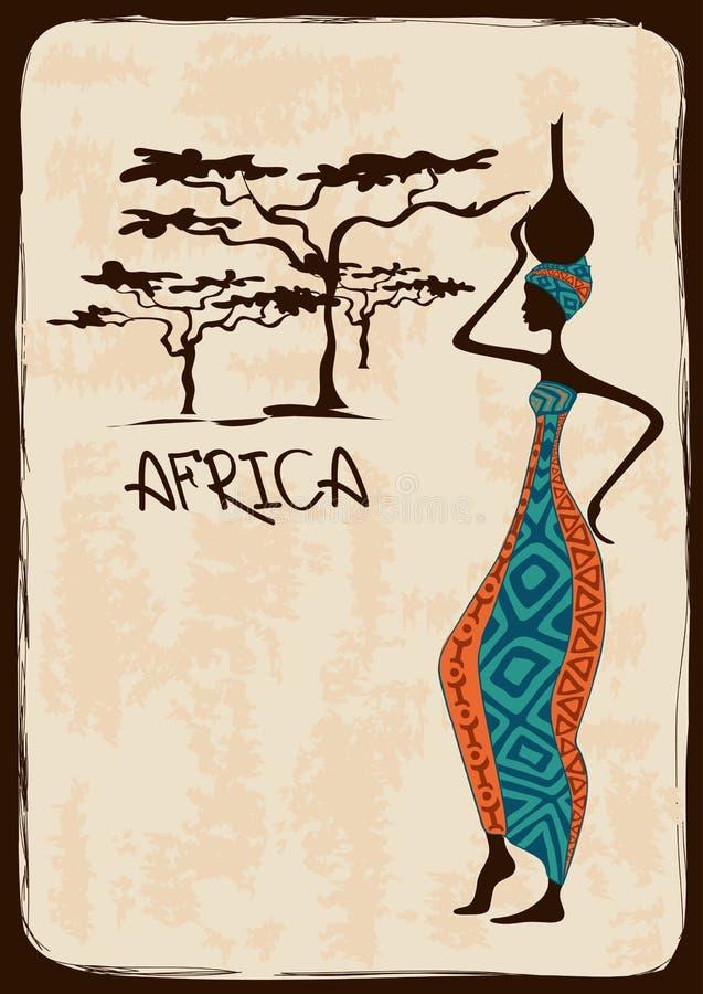 Απεικόνιση με την όμορφη αφρικανική γυναίκα ελεύθερη απεικόνιση δικαιώματος