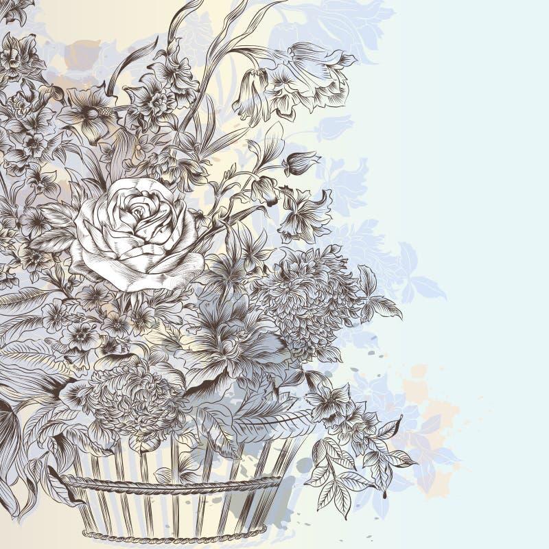 Απεικόνιση με την όμορφη διανυσματική συρμένη χέρι ανθοδέσμη των λουλουδιών ελεύθερη απεικόνιση δικαιώματος
