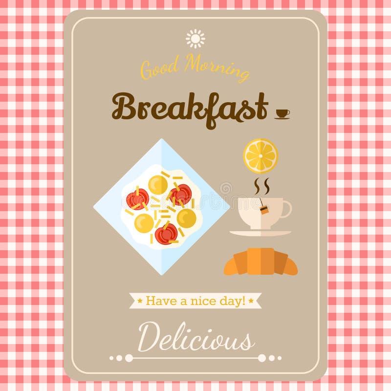 Απεικόνιση με τις ετικέτες, καλημέρα με ένα πρόγευμα τηγανισμένος απεικόνιση αποθεμάτων
