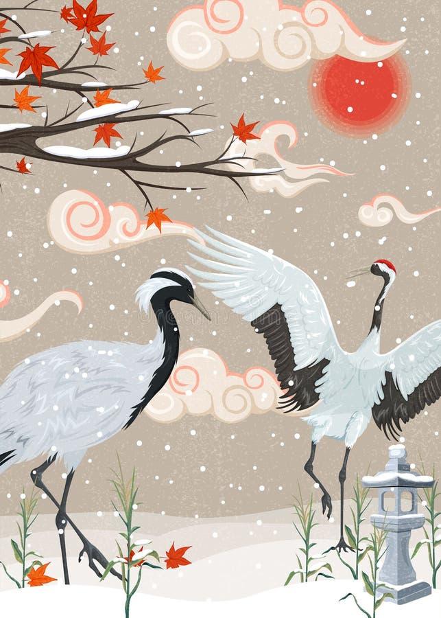 Απεικόνιση με τους γερανούς και χιονοπτώσεις στο ηλιοβασίλεμα διανυσματική απεικόνιση