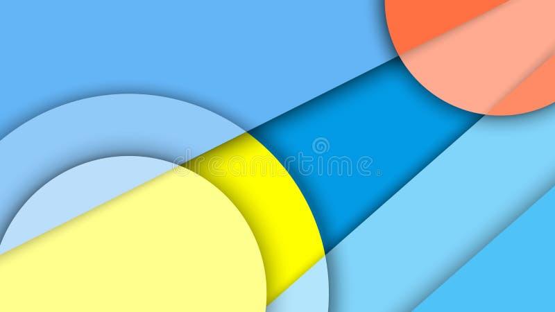 Απεικόνιση με το αφηρημένο υπόβαθρο με τις διαφορετικούς επιφάνειες επιπέδων και τους κύκλους, υλικό σχέδιο στοκ εικόνα με δικαίωμα ελεύθερης χρήσης