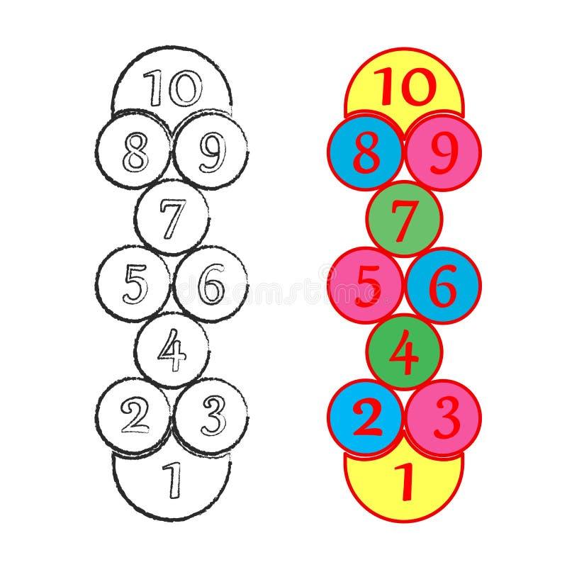 Απεικόνιση με το παιχνίδι hopscotch Παιχνίδι οδών παιδιών Διάνυσμα eps-10 διανυσματική απεικόνιση