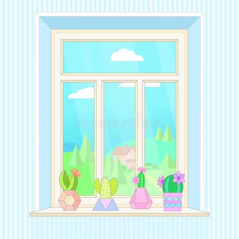 Απεικόνιση με το παράθυρο, κάκτοι στα δοχεία και τοπίο έξω από το παράθυρο διανυσματική απεικόνιση