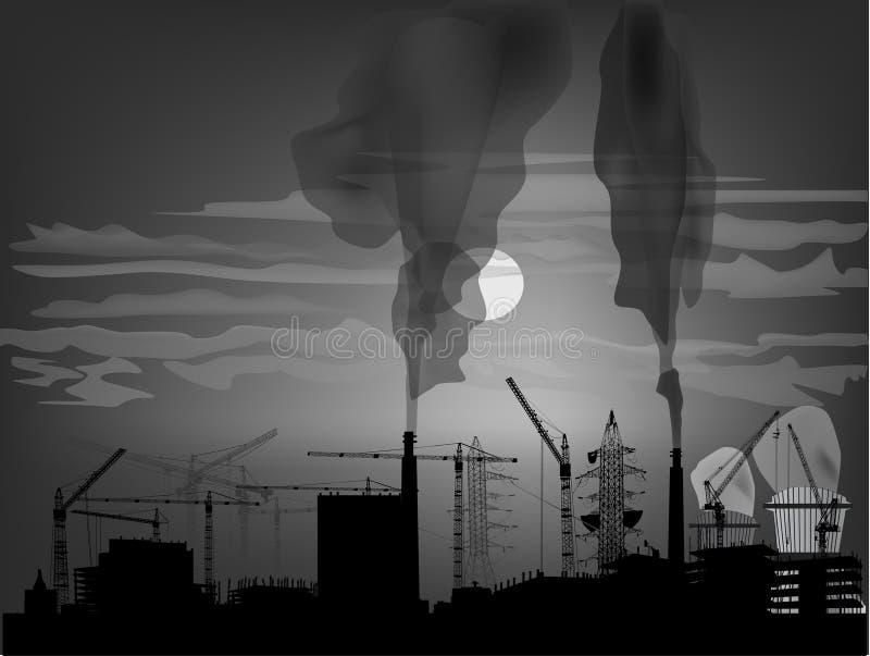 Σκοτεινό βιομηχανικό τοπίο με τον καπνό ελεύθερη απεικόνιση δικαιώματος
