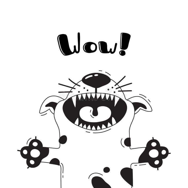 Απεικόνιση με το χαρούμενο σκυλί που φωνάζει - wow Για το σχέδιο των αστείων ειδώλων, των ευπρόσδεκτων αφισών και των καρτών ζώο  ελεύθερη απεικόνιση δικαιώματος