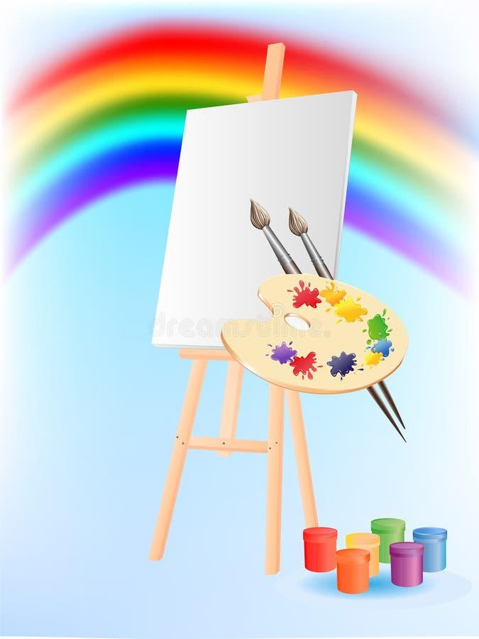 Απεικόνιση με easel, παλέτα των χρωμάτων και στοκ φωτογραφίες με δικαίωμα ελεύθερης χρήσης