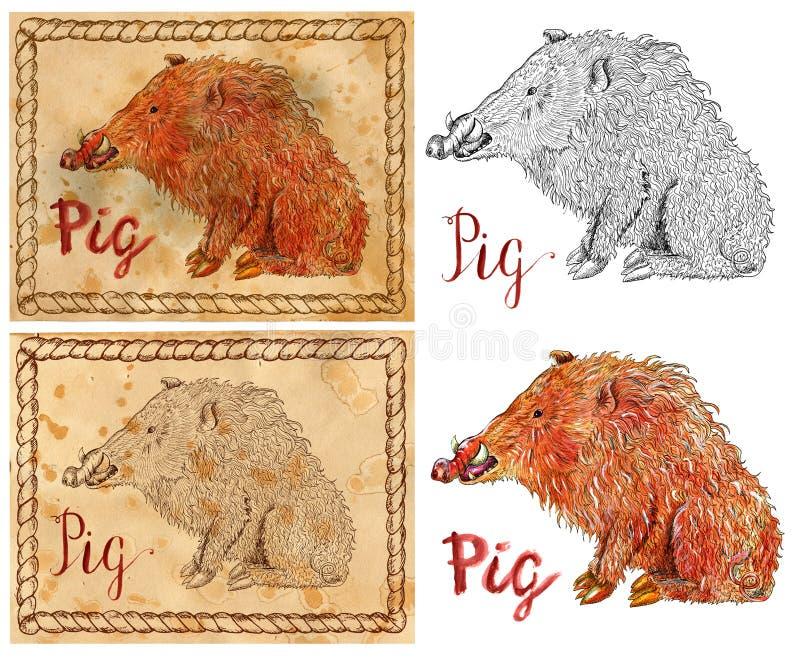 Απεικόνιση με zodiac το ζώο - χοίρος ή κάπρος διανυσματική απεικόνιση