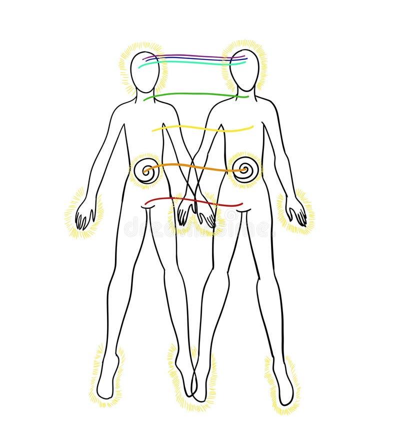 Απεικόνιση μιας ανθρώπινης γραφικής παράστασης Σύνδεση και αγάπη ψυχής Μαύρος αριθμός μανδρών ελεύθερη απεικόνιση δικαιώματος