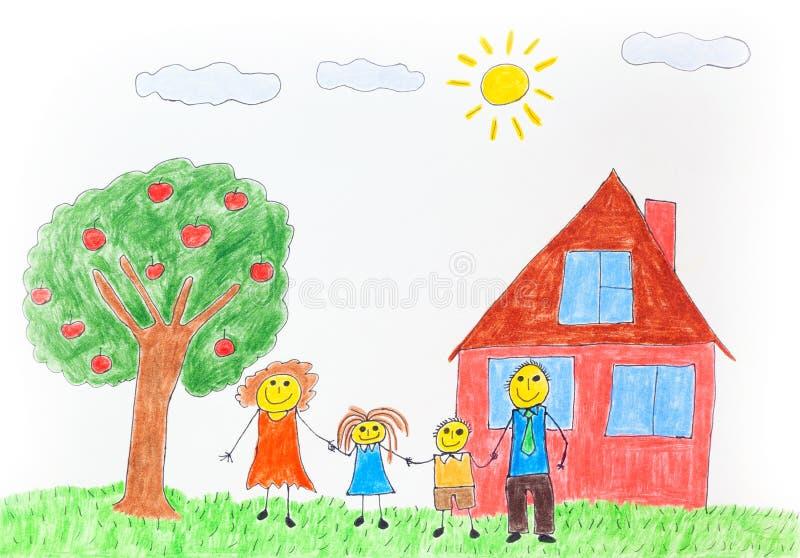 Απεικόνιση μιας ευτυχούς οικογένειας με ένα δέντρο μηλιάς και ένα σπίτι στοκ εικόνα