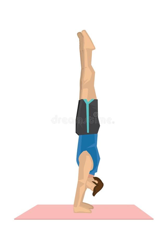 Απεικόνιση μιας ισχυρής γιόγκας άσκησης ατόμων με πλήρες bal βραχιόνων διανυσματική απεικόνιση
