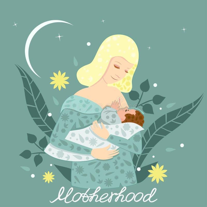 Απεικόνιση μιας νέας μητέρας που θηλάζει το μωρό της Μια κάρτα με τη μητρότητα λέξεων r Για ιατρικό απεικόνιση αποθεμάτων