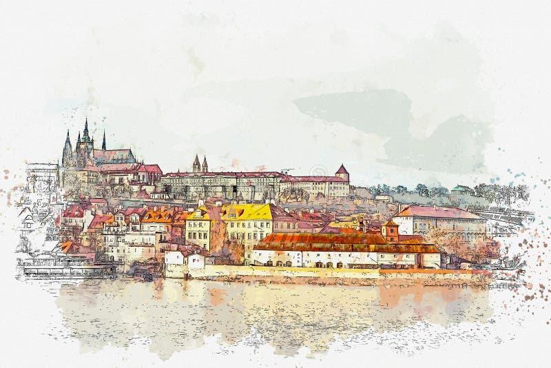 Απεικόνιση μιας όμορφης άποψης της Πράγας ελεύθερη απεικόνιση δικαιώματος