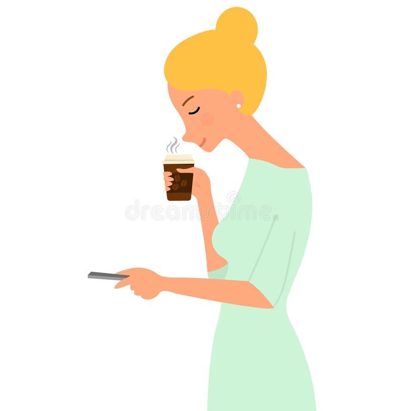 Απεικόνιση μιας όμορφης νέας γυναίκας που απολαμβάνει τη μυρωδιά του καφέ Διανυσματική απεικόνιση στο άσπρο υπόβαθρο στο ύφος κιν ελεύθερη απεικόνιση δικαιώματος