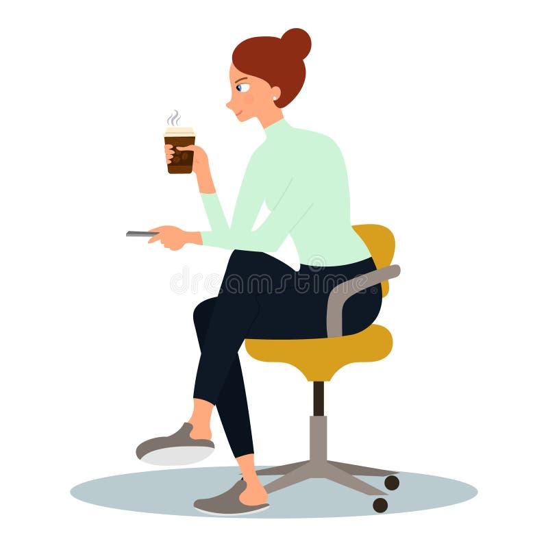 Απεικόνιση μιας όμορφης νέας γυναίκας που απολαμβάνει τη μυρωδιά του καφέ Διανυσματική απεικόνιση στο άσπρο υπόβαθρο στο ύφος κιν διανυσματική απεικόνιση
