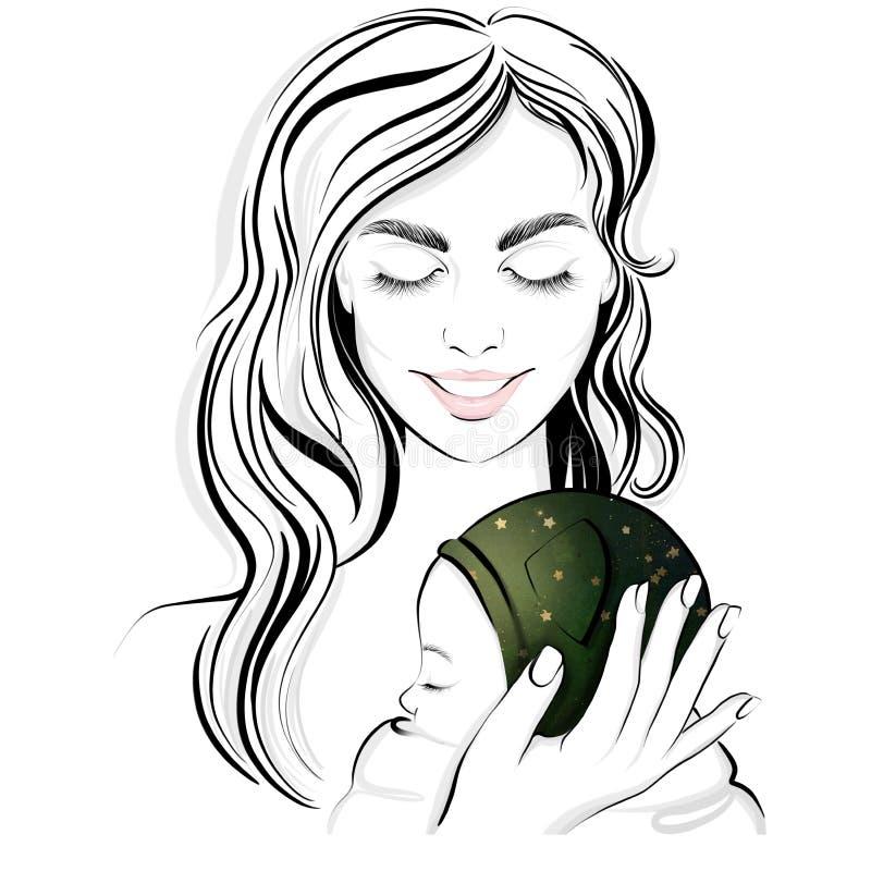 Απεικόνιση μιας όμορφης νέας μητέρας με το νεογέννητο μωρό της, χαμογελά διανυσματική απεικόνιση