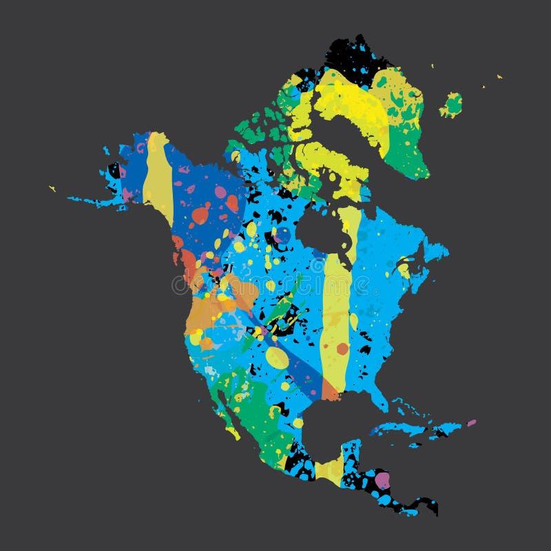 Απεικόνιση μιας colourfully γεμισμένης περίληψης της Βόρειας Αμερικής απεικόνιση αποθεμάτων