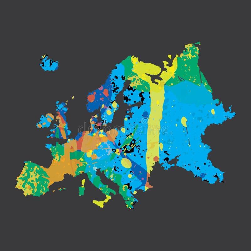 Απεικόνιση μιας colourfully γεμισμένης περίληψης της Ευρώπης απεικόνιση αποθεμάτων