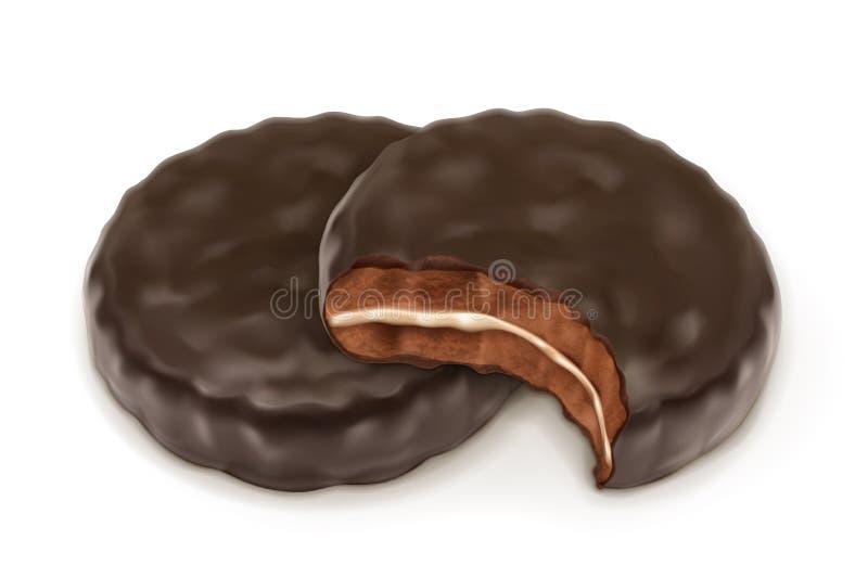 Απεικόνιση μπισκότων σοκολάτας διανυσματική απεικόνιση