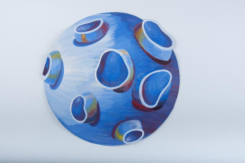 απεικόνιση Μπλε πλανήτης που επισύρεται την προσοχή από την γκουας στο άσπρο υπόβαθρο στοκ φωτογραφία με δικαίωμα ελεύθερης χρήσης