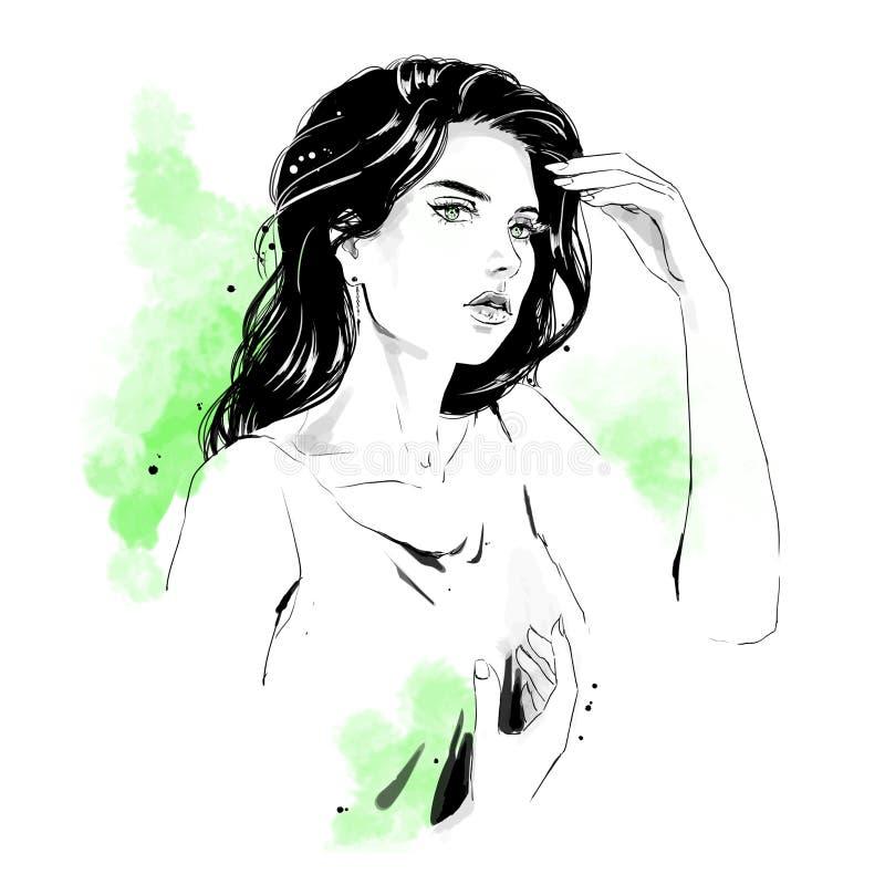 Απεικόνιση μόδας, πορτρέτο της γυναίκας διανυσματική απεικόνιση