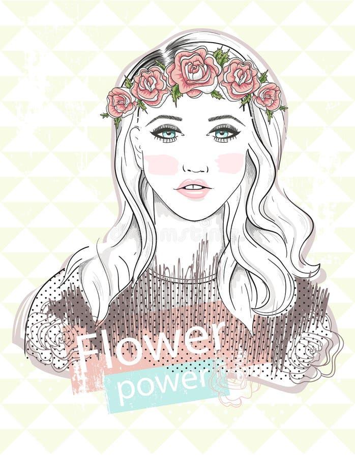 Απεικόνιση μόδας νέων κοριτσιών Τάση μόδας κρητιδογραφιών ελεύθερη απεικόνιση δικαιώματος