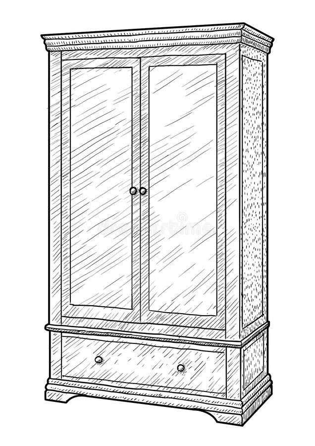Απεικόνιση ντουλαπών, σχέδιο, χάραξη, μελάνι, τέχνη γραμμών, διάνυσμα ελεύθερη απεικόνιση δικαιώματος