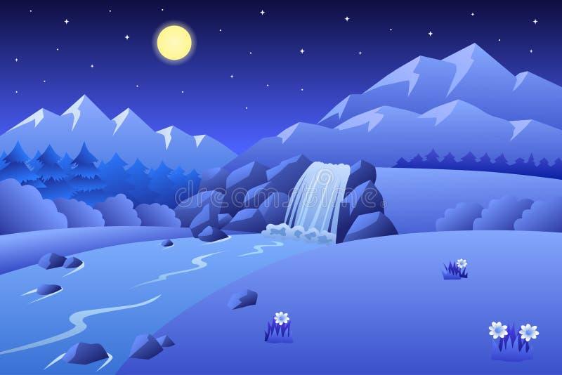 Απεικόνιση νύχτας θερινών τοπίων βουνών καταρρακτών ποταμών διανυσματική απεικόνιση