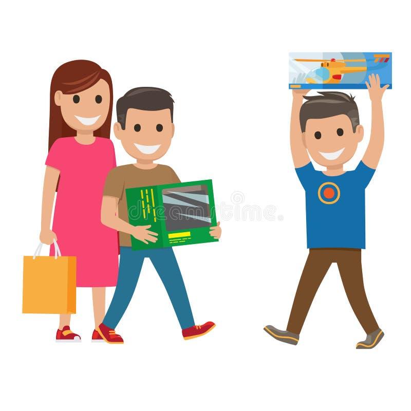 Απεικόνιση οικογενειακών αγορών ΜΗΤΕΡΑ ΚΑΙ ΓΙΟΙ διανυσματική απεικόνιση