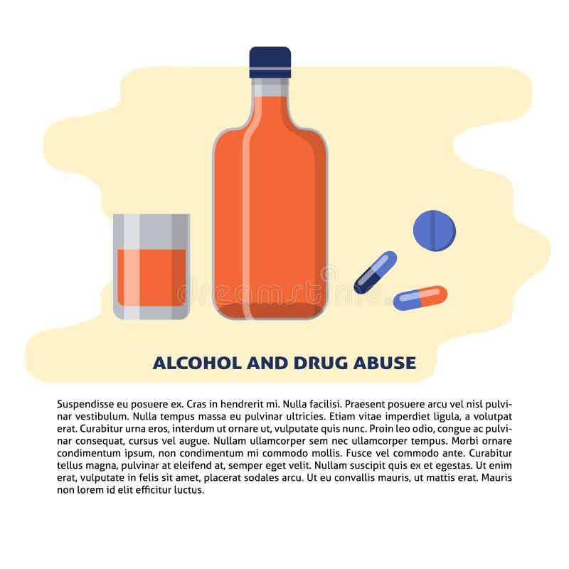 Απεικόνιση οινοπνεύματος και έννοιας φαρμάκων στο επίπεδο ύφος με το κείμενο ελεύθερη απεικόνιση δικαιώματος