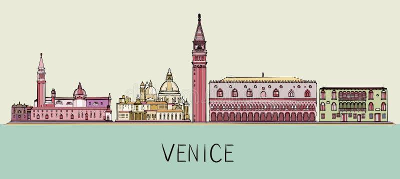 Απεικόνιση οριζόντων αρχιτεκτονικής της Βενετίας Εικονική παράσταση πόλης με τα διάσημα ορόσημα, θέες πόλεων διανυσματική απεικόνιση