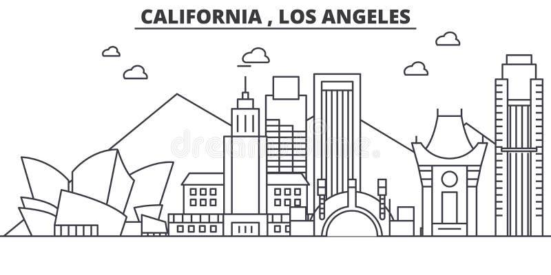 Απεικόνιση οριζόντων γραμμών αρχιτεκτονικής Καλιφόρνιας Λος Άντζελες Γραμμική διανυσματική εικονική παράσταση πόλης με τα διάσημα απεικόνιση αποθεμάτων