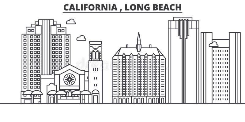 Απεικόνιση οριζόντων γραμμών αρχιτεκτονικής Λονγκ Μπιτς Καλιφόρνιας Γραμμική διανυσματική εικονική παράσταση πόλης με τα διάσημα  διανυσματική απεικόνιση