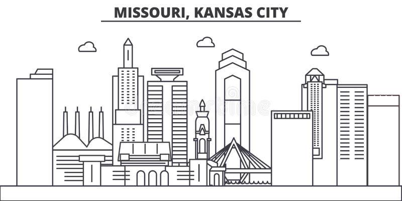 Απεικόνιση οριζόντων γραμμών αρχιτεκτονικής πόλεων του Μισσούρι, Κάνσας Γραμμική διανυσματική εικονική παράσταση πόλης με τα διάσ ελεύθερη απεικόνιση δικαιώματος