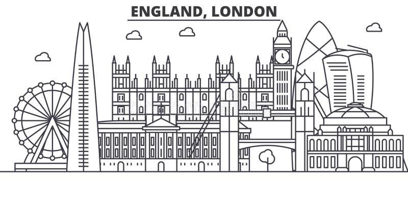 Απεικόνιση οριζόντων γραμμών αρχιτεκτονικής της Αγγλίας, Λονδίνο Γραμμική διανυσματική εικονική παράσταση πόλης με τα διάσημα ορό απεικόνιση αποθεμάτων