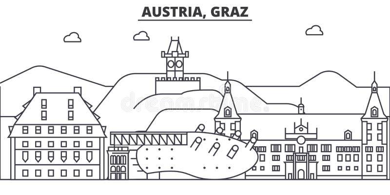 Απεικόνιση οριζόντων γραμμών αρχιτεκτονικής της Αυστρίας, Γκραζ Γραμμική διανυσματική εικονική παράσταση πόλης με τα διάσημα ορόσ απεικόνιση αποθεμάτων