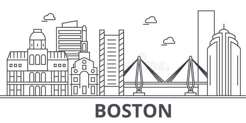 Απεικόνιση οριζόντων γραμμών αρχιτεκτονικής της Βοστώνης Γραμμική διανυσματική εικονική παράσταση πόλης με τα διάσημα ορόσημα, θέ ελεύθερη απεικόνιση δικαιώματος