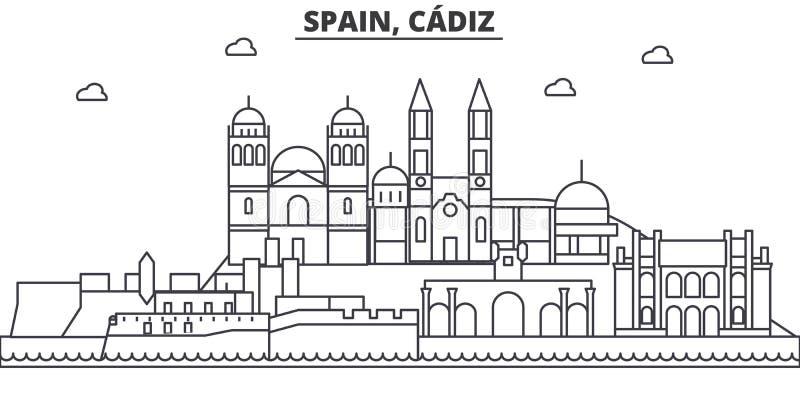 Απεικόνιση οριζόντων γραμμών αρχιτεκτονικής της Ισπανίας, Καντίζ Γραμμική διανυσματική εικονική παράσταση πόλης με τα διάσημα ορό ελεύθερη απεικόνιση δικαιώματος