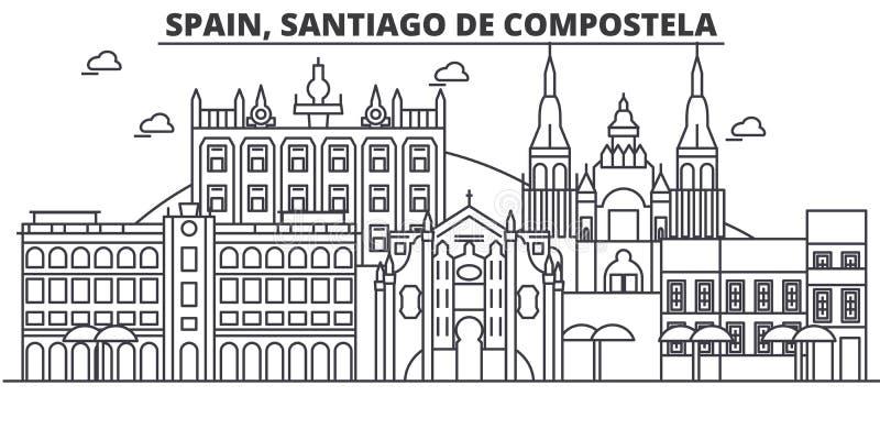 Απεικόνιση οριζόντων γραμμών αρχιτεκτονικής της Ισπανίας, Σαντιάγο de Compostela Γραμμική διανυσματική εικονική παράσταση πόλης μ απεικόνιση αποθεμάτων