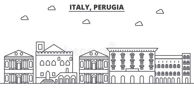 Απεικόνιση οριζόντων γραμμών αρχιτεκτονικής της Ιταλίας, Περούτζια Γραμμική διανυσματική εικονική παράσταση πόλης με τα διάσημα ο απεικόνιση αποθεμάτων