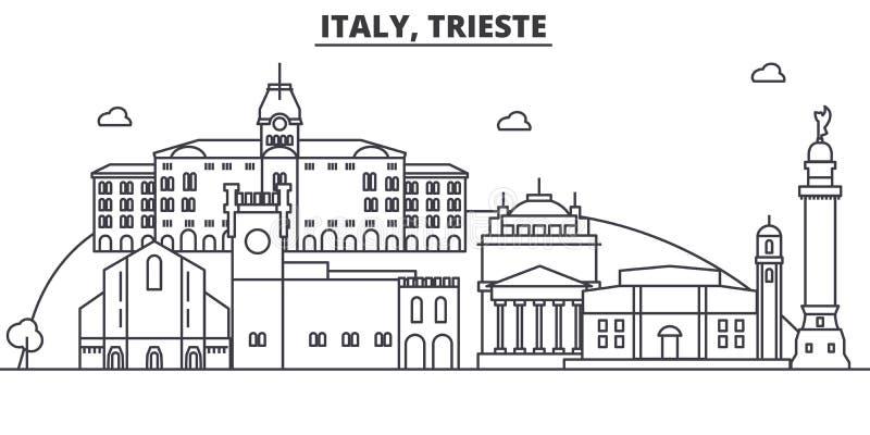 Απεικόνιση οριζόντων γραμμών αρχιτεκτονικής της Ιταλίας, Τεργέστη Γραμμική διανυσματική εικονική παράσταση πόλης με τα διάσημα ορ ελεύθερη απεικόνιση δικαιώματος