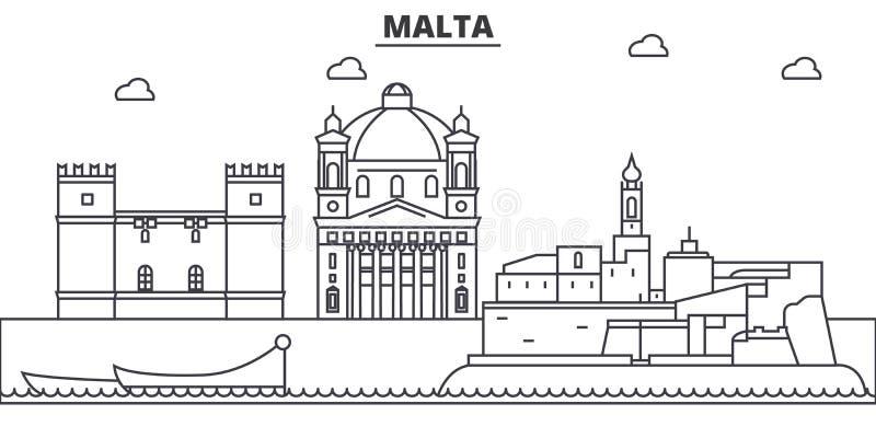 Απεικόνιση οριζόντων γραμμών αρχιτεκτονικής της Μάλτας Γραμμική διανυσματική εικονική παράσταση πόλης με τα διάσημα ορόσημα, θέες απεικόνιση αποθεμάτων