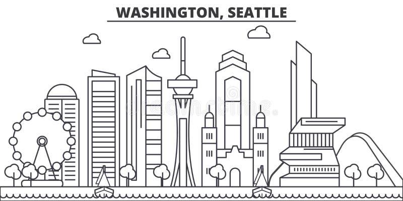 Απεικόνιση οριζόντων γραμμών αρχιτεκτονικής της Ουάσιγκτον, Σιάτλ Γραμμική διανυσματική εικονική παράσταση πόλης με τα διάσημα ορ ελεύθερη απεικόνιση δικαιώματος