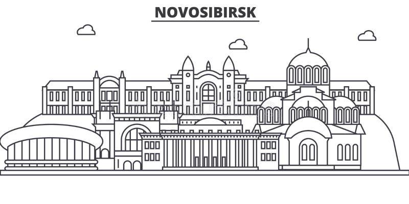 Απεικόνιση οριζόντων γραμμών αρχιτεκτονικής της Ρωσίας, Novosibirsk Γραμμική διανυσματική εικονική παράσταση πόλης με τα διάσημα  ελεύθερη απεικόνιση δικαιώματος