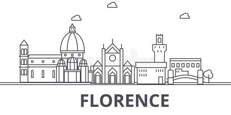 Απεικόνιση οριζόντων γραμμών αρχιτεκτονικής της Φλωρεντίας Γραμμική διανυσματική εικονική παράσταση πόλης με τα διάσημα ορόσημα,  ελεύθερη απεικόνιση δικαιώματος