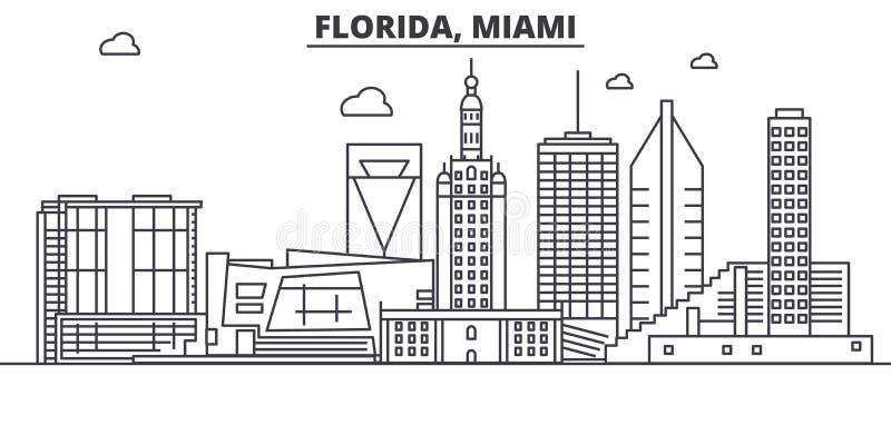 Απεικόνιση οριζόντων γραμμών αρχιτεκτονικής της Φλώριδας Μαϊάμι Γραμμική διανυσματική εικονική παράσταση πόλης με τα διάσημα ορόσ διανυσματική απεικόνιση