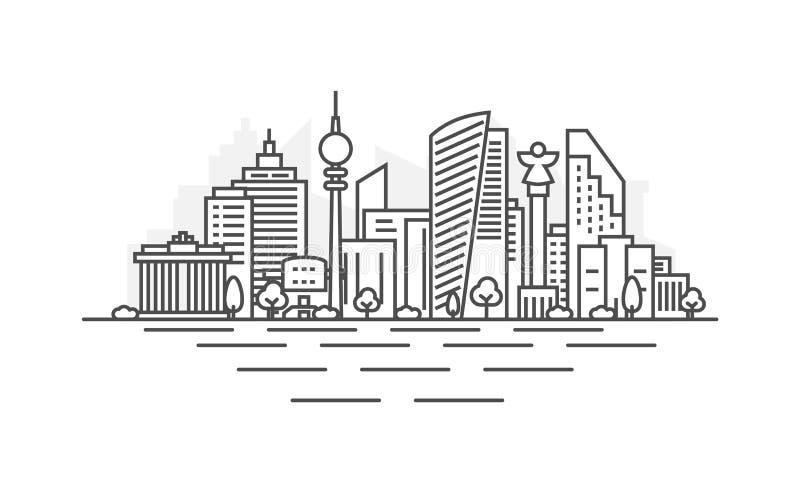 Απεικόνιση οριζόντων γραμμών αρχιτεκτονικής του Βερολίνου, Γερμανία Γραμμική διανυσματική εικονική παράσταση πόλης με τα διάσημα  ελεύθερη απεικόνιση δικαιώματος