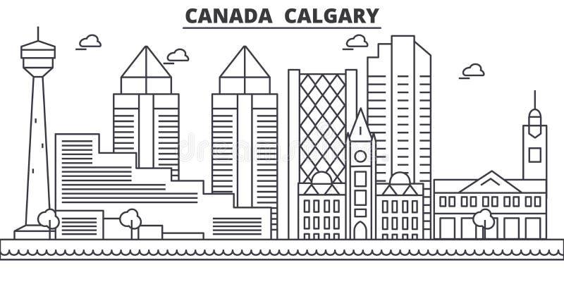 Απεικόνιση οριζόντων γραμμών αρχιτεκτονικής του Καναδά, Κάλγκαρι Γραμμική διανυσματική εικονική παράσταση πόλης με τα διάσημα ορό απεικόνιση αποθεμάτων