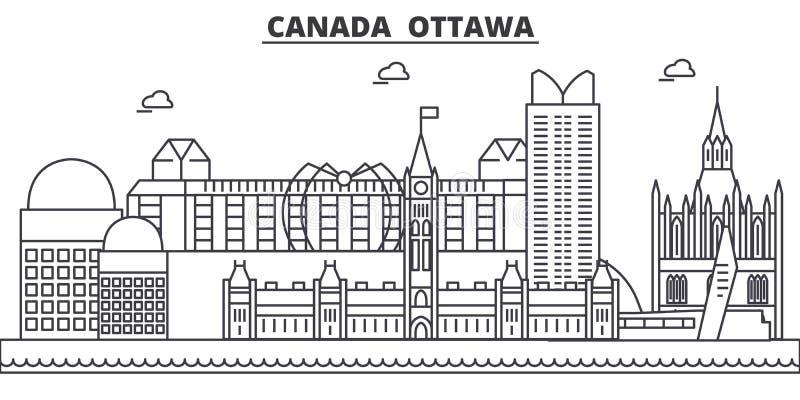 Απεικόνιση οριζόντων γραμμών αρχιτεκτονικής του Καναδά, Οττάβα Γραμμική διανυσματική εικονική παράσταση πόλης με τα διάσημα ορόση απεικόνιση αποθεμάτων