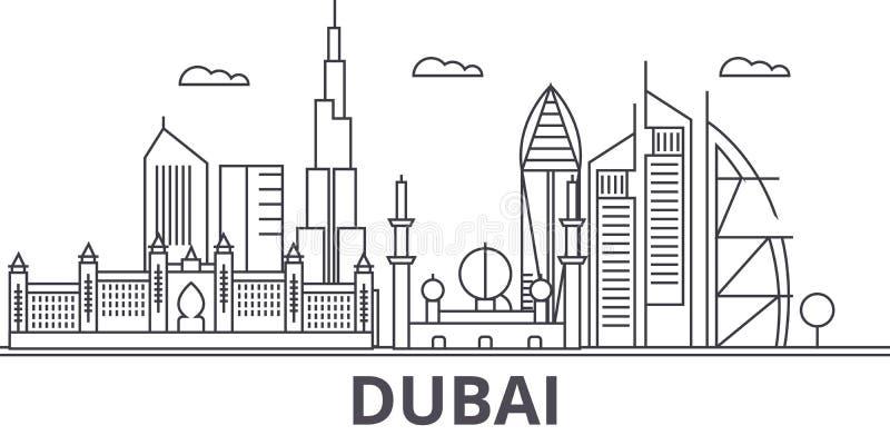 Απεικόνιση οριζόντων γραμμών αρχιτεκτονικής του Ντουμπάι Γραμμική διανυσματική εικονική παράσταση πόλης με τα διάσημα ορόσημα, θέ διανυσματική απεικόνιση