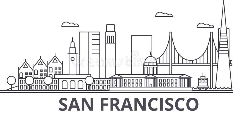 Απεικόνιση οριζόντων γραμμών αρχιτεκτονικής του Σαν Φρανσίσκο Γραμμική διανυσματική εικονική παράσταση πόλης με τα διάσημα ορόσημ διανυσματική απεικόνιση